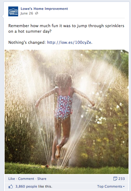 Lowe's Home Improvement shows Facebook marketers how self-promotion should be done on Facebook.