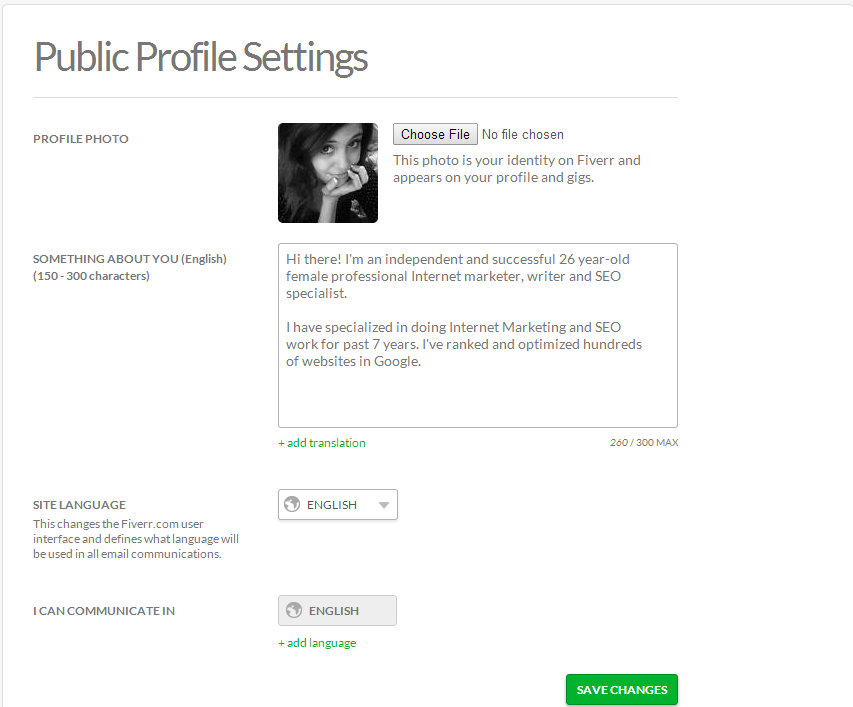 An example of a quick profile I set up for Fiverr.