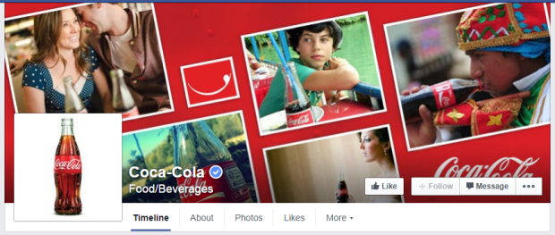 Coca-Cola's Cover Photo is an example of what your Facebook Fan Page should have.